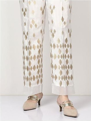 Embroidered Raw Silk Pants