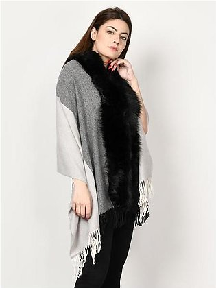 Striped Fur Cape Shawl