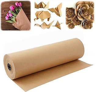 60 Meters Brown Kraft Wrapping Paper Roll for Wedding Birthday Party Gift Wrapp…