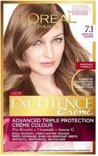 L`Oreal Excllence 7.1 Ash Blonde - 0024 - 3600520619002
