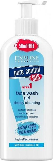 Eveline Pure Control Face Wash Gel Deep Cleansing - 200ml - J4g