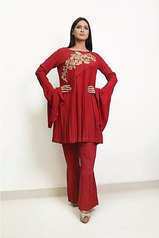Embroidered and hand worked flowy tunic with gharara pant