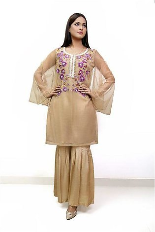 Net tunic with umbrella sleeves and gharara pant