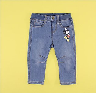 Disney Baby Pull On Stretch Jeans with Adjustable Waist – Mickey Mouse