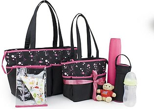 Mon Tresor 4 Pc Diaper Changing Bag Set with Small Bag, Changing Mat and Bottle…