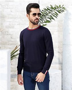 KNITTED SWEATER WITH NECK/CUFF DETAIL