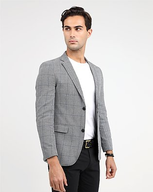 CHECKERED SLIM FIT CASUAL COAT