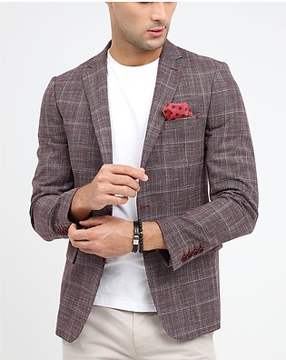 LINEN CHECKERED SLIM FIT COAT