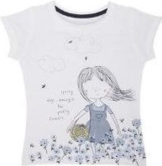 spring girl and flowers white t-shirt