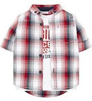 red check shirt and white t-shirt set