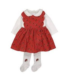 heritage red floral cord pinny dress set