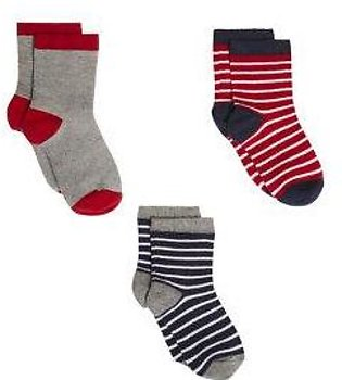 red and navy stripe socks - 3 pack