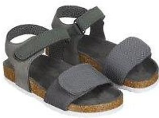 grey and khaki footbed sandals
