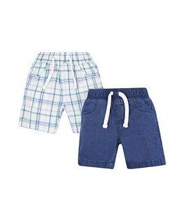 blue and green check and denim shorts - 2 pack