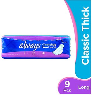 Always - Always Classic Thick Long Pads with Wings (Pack of 9)
