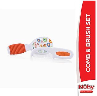 Nuby - Nuby Comb and Brush Set with Soft Grip Handle