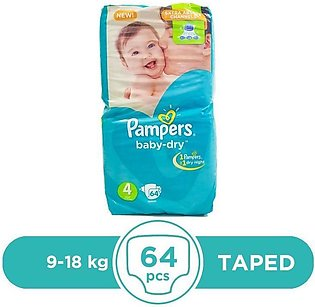 Pampers - Pampers Taped 9 To 18kg - 64Pcs