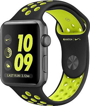 Apple | Watch Series 3 Nike+ - 42mm Space Gray Aluminum Case with Black/Volt ...