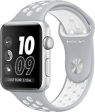 Apple | Watch Series 3 Nike+ - 42mm Silver Aluminum Case with Flat Silver/Whi...