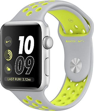 Apple | Watch Series 3 Nike+ - 42mm Silver Aluminum Case with Flat Silver/Vol...