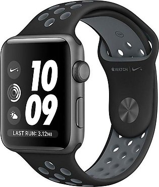 Apple | Watch Series 3 Nike+ - 42mm Space Gray Aluminum Case with Black/Cool ...
