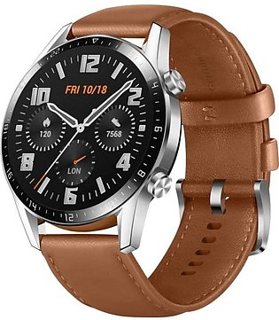 Huawei | Watch - GT 2 Stainless steel with brown band 46mm