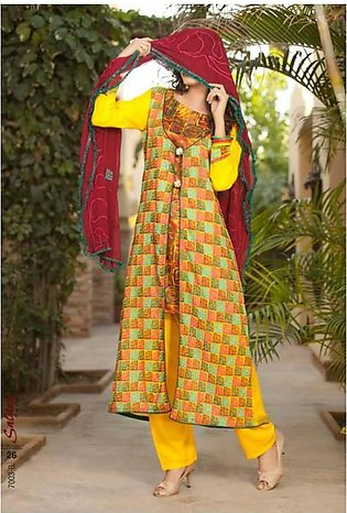 Salitex Semistitched Chiffon Embroidered Suit STX 3B in Pakistan