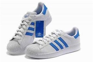 ADIDAS SUPERSTAR WHITE WITH BLUE STRAP SHOES in Pakistan