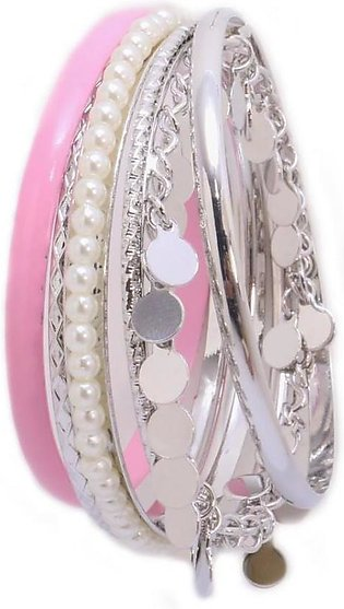 Artificial Silver Pink Bangles Set in Pakistan