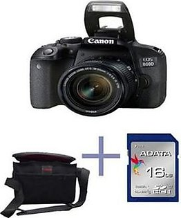 CANON EOS 800D Dslr Camera With 18-55Mm Lens 16Gb Card Kit Bag - Black in Pakistan