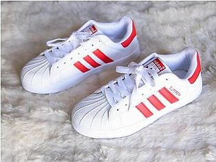 ADIDAS SUPERSTAR WHITE WITH RED STRAP SHOES in Pakistan