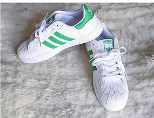ADIDAS SUPERSTAR WHITE WITH GREEN STRAP SHOES in Pakistan