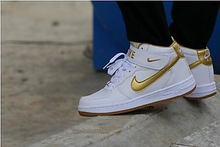 Nike White And Gold Sport Shoes 06 in Pakistan