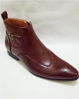 Brogue Cow Boy Design Dark Brown Formal Shoes For Men in Pakistan