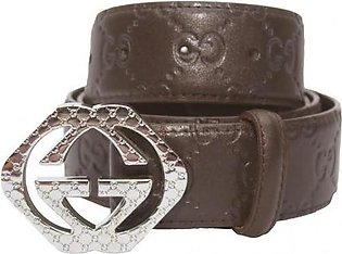 GUCCI Silver Engraved Interlocking GG Pyramid Buckle - Embossed GG Web Brown ...