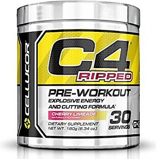 Cellucor C4 Ripped Preworkout Thermogenic Fat Burner Powder Preworkout Energy Weight Loss 180 g (6.34 oz) 30 Servings Cherry Limeade in Pakistan