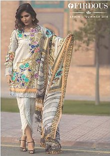 FIRDOUS TEXTILES Luxury Embroidered Lawn Suit FDLW18 14 in Pakistan