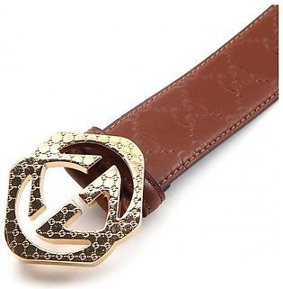 GUCCI Gold Engraved Interlocking GG Pyramid Buckle - Embossed GG Web Brown MY...
