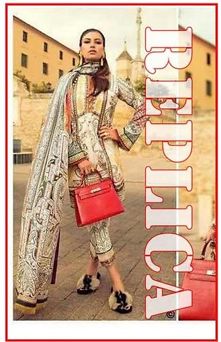 Elan Embroidered Lawn Suit With Printed Chiffon Dupatta EL17 12B RP in Pakistan