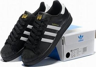 ADIDAS SUPERSTAR BLACK WITH WHITE STRAP SHOES in Pakistan