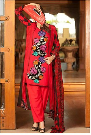 Salitex Semistitched Chiffon Embroidered Suit STX 7A in Pakistan