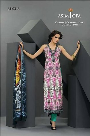 Asim Jofa Embroidered Chiffon Suit With Silk Duppata AJ14 3A in Pakistan