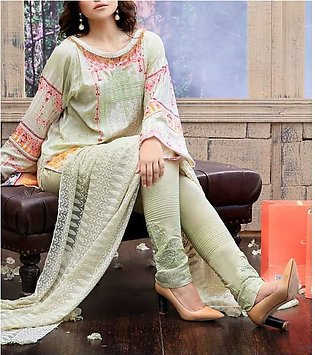 FAUSTINA BY SALITEX Embroidered Chikan Kari Suit FAUS18 28A in Pakistan