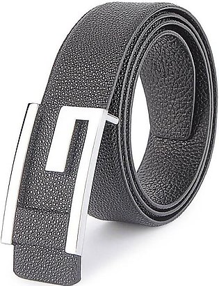 GUCCI Silver G Buckle with Leather Trim - Black Bubble Textured Belt in Pakistan