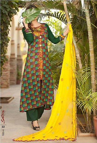 Salitex Semistitched Chiffon Embroidered Suit STX 3A in Pakistan