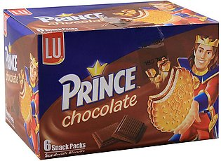 LU Prince Chocolate Sandwich Biscuits, 6 Snack Packs