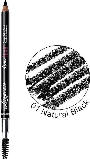 Luscious Cosmetics Brow Luxe Eyebrow Definer Pencil, 01 Natural Black
