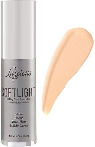 Luscious Cosmetics Soft Light All Day Glow Foundation, Natural Matte, 1