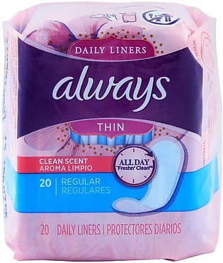 Always Thin Daily Liner, Regular, Clean Scent, Pantyliners, 20-Pack
