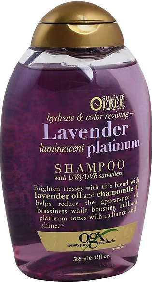 OGX Hydrate & Color Reviving + Lavender Luminescent Platinum Shampoo, Sulfate...